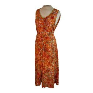 Norm Thompson Boho Midi Dress Orange Aqua M Medium